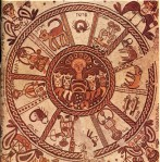 Wheel of the zodiac on a 6th century mosaic pavement in a synagogue in Beit Alpha, Israel.